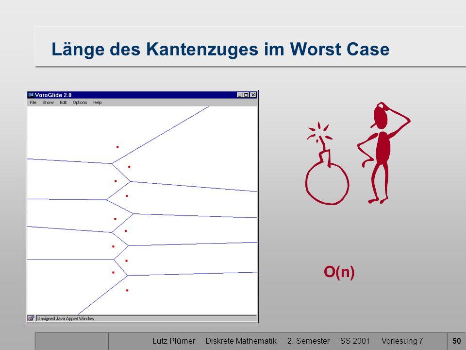Lutz Plümer - Diskrete Mathematik - 2. Semester - SS 2001 - Vorlesung 749 Kosten wie lange dauert die Konstruktion des trennenden Kantenzuges? Zahl de