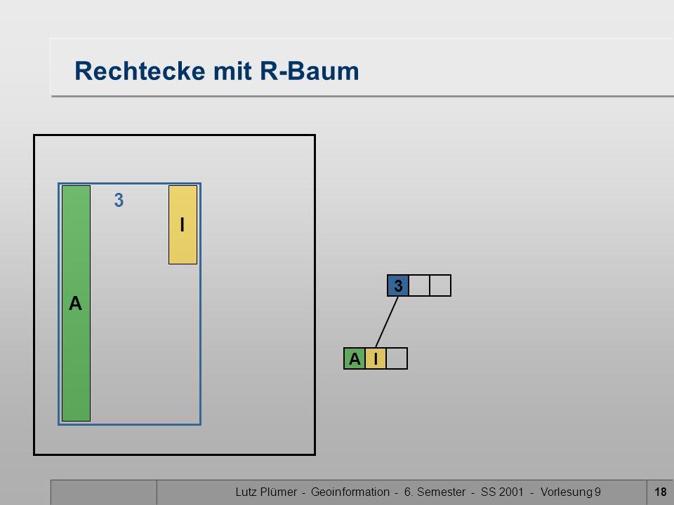 Lutz Plümer - Geoinformation - 6. Semester - SS 2001 - Vorlesung 918 Rechtecke mit R-Baum A I 3 AI 3