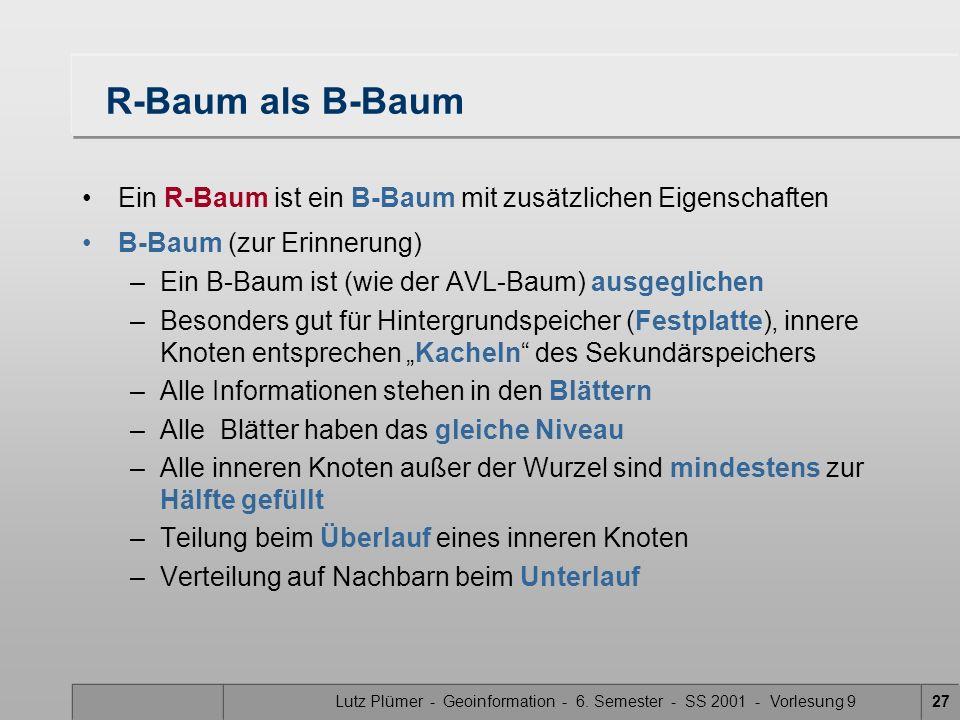 Lutz Plümer - Geoinformation - 6. Semester - SS 2001 - Vorlesung 927 R-Baum als B-Baum Ein R-Baum ist ein B-Baum mit zusätzlichen Eigenschaften B-Baum