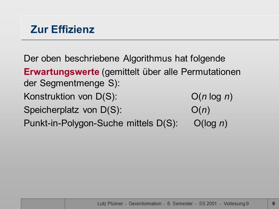 Lutz Plümer - Geoinformation - 6. Semester - SS 2001 - Vorlesung 99 Zur Effizienz Der oben beschriebene Algorithmus hat folgende Erwartungswerte (gemi