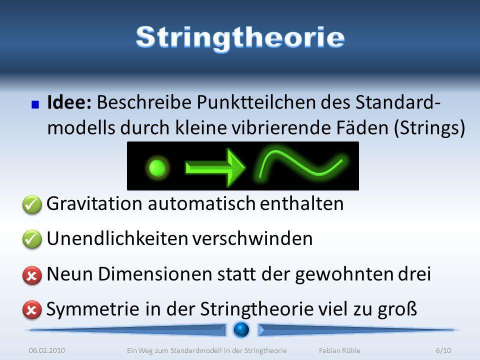 Idee: Beschreibe Punktteilchen des Standard- modells durch kleine vibrierende Fäden (Strings) Gravitation automatisch enthalten Unendlichkeiten verschwinden Neun Dimensionen statt der gewohnten drei Symmetrie in der Stringtheorie viel zu groß 06.02.20106/10Ein Weg zum Standardmodell in der StringtheorieFabian Rühle