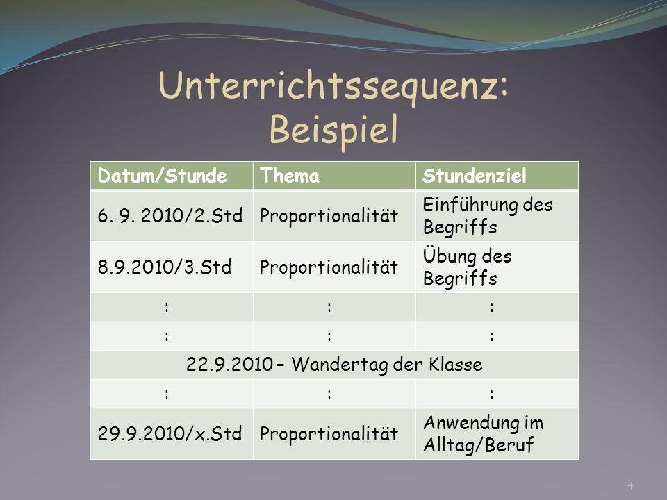 Unterrichtssequenz: Beispiel Datum/StundeThemaStundenziel 6. 9. 2010/2.StdProportionalität Einführung des Begriffs 8.9.2010/3.StdProportionalität Übun
