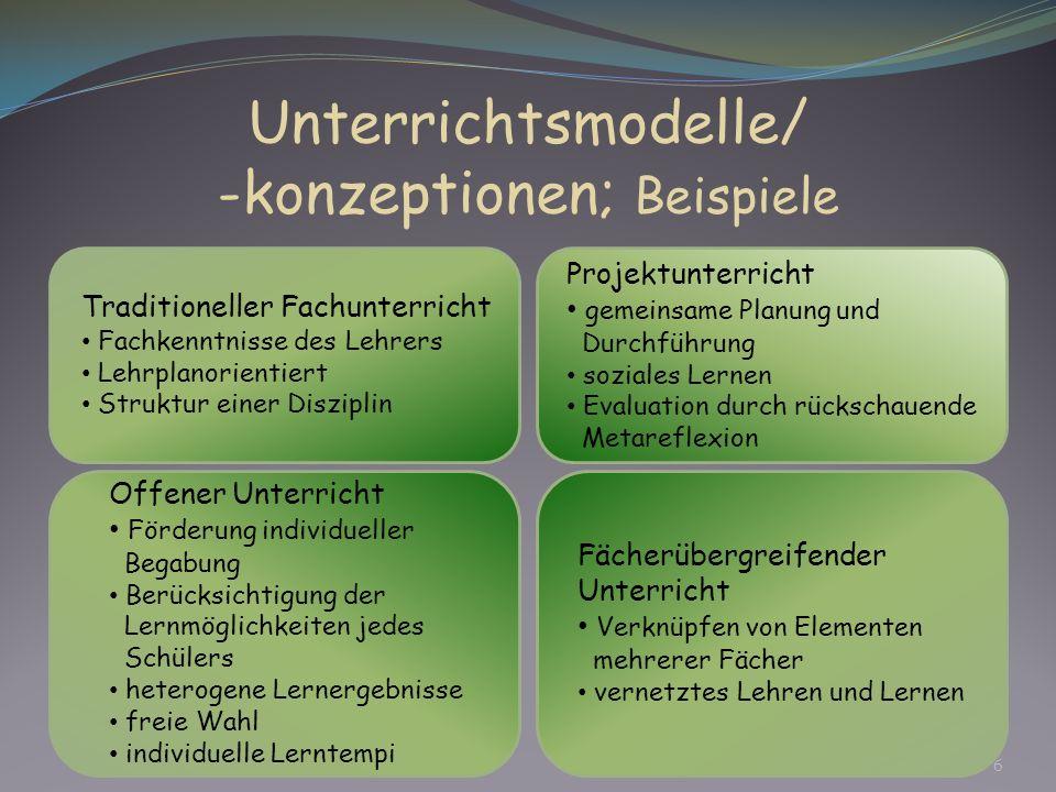 Unterrichtsmodelle/ -konzeptionen; Beispiele Traditioneller Fachunterricht Fachkenntnisse des Lehrers Lehrplanorientiert Struktur einer Disziplin Fäch