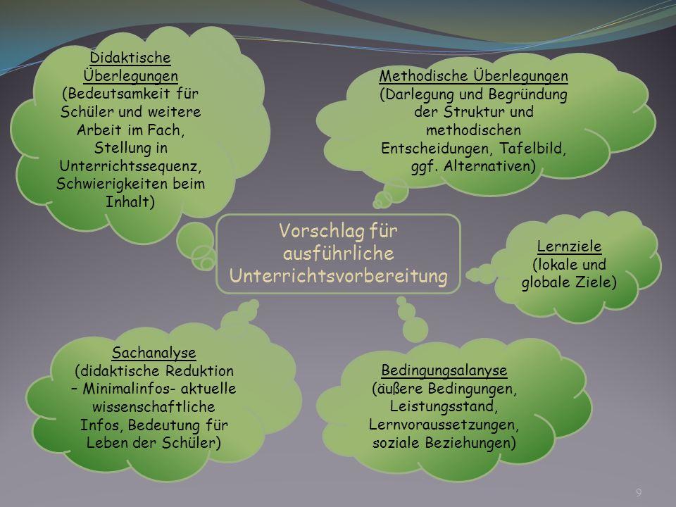 Vorschlag für ausführliche Unterrichtsvorbereitung Lernziele (lokale und globale Ziele) Bedingungsalanyse (äußere Bedingungen, Leistungsstand, Lernvor