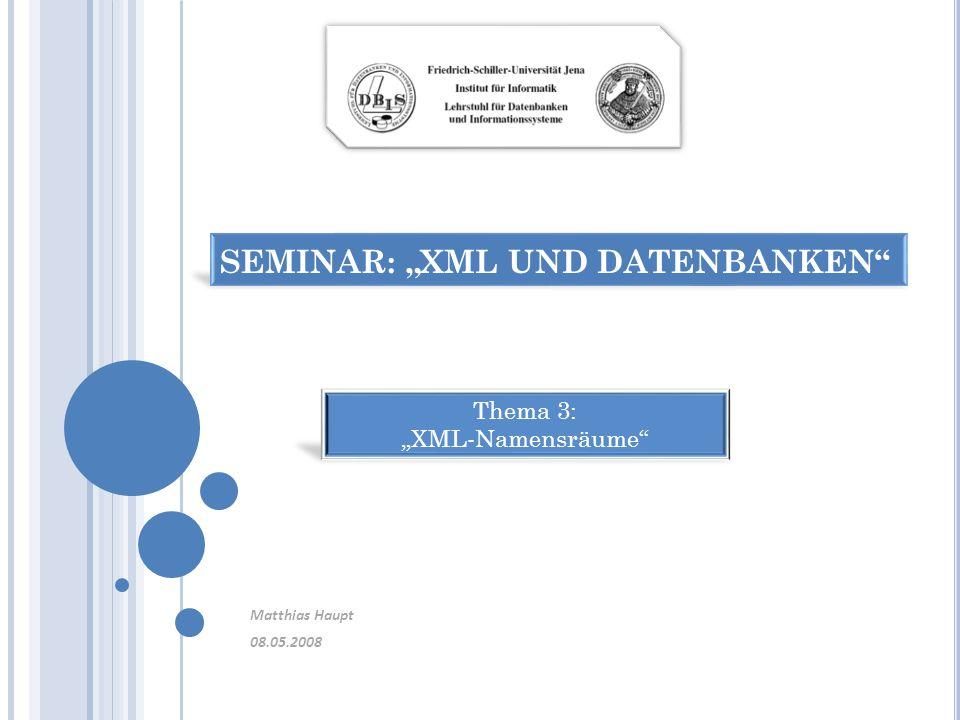 Beispiel: Bindung eines Elements an einen Namensraum /* leeres Element */ /* leeres Element */ Namensraum wird als Präfix jedem Element zugeordnet 2.2 N AMENSRÄUME : T HEORIE UND B EISPIELE 08.05.2008 22 Seminar XML und Datenbanken – Thema 3: XML-Namensräume - Matthias Haupt