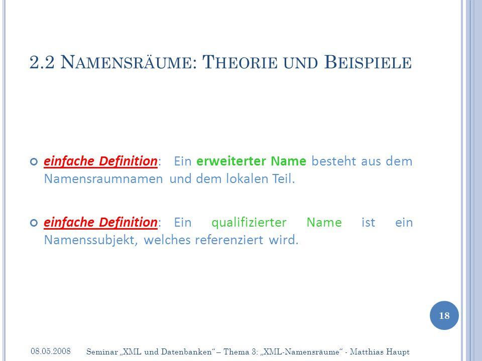 einfache Definition:Ein erweiterter Name besteht aus dem Namensraumnamen und dem lokalen Teil.