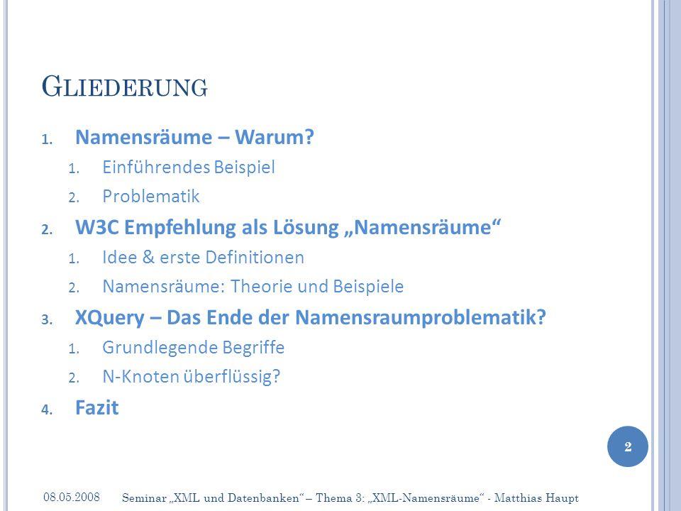 2.1I DEE & D EFINITIONEN 08.05.2008 13 Seminar XML und Datenbanken – Thema 3: XML-Namensräume - Matthias Haupt