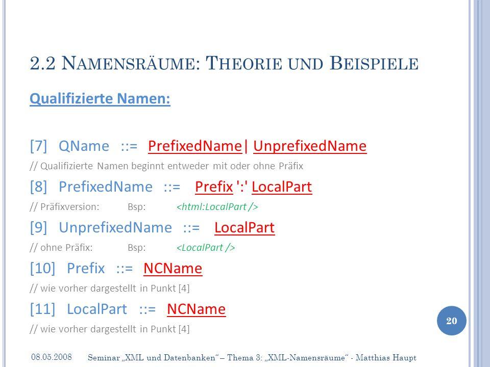 Qualifizierte Namen: [7] QName ::= PrefixedName| UnprefixedName // Qualifizierte Namen beginnt entweder mit oder ohne Präfix [8] PrefixedName ::= Prefix : LocalPart // Präfixversion:Bsp: [9] UnprefixedName ::= LocalPart // ohne Präfix: Bsp: [10] Prefix ::= NCName // wie vorher dargestellt in Punkt [4] [11] LocalPart ::= NCName // wie vorher dargestellt in Punkt [4] 2.2 N AMENSRÄUME : T HEORIE UND B EISPIELE 08.05.2008 20 Seminar XML und Datenbanken – Thema 3: XML-Namensräume - Matthias Haupt