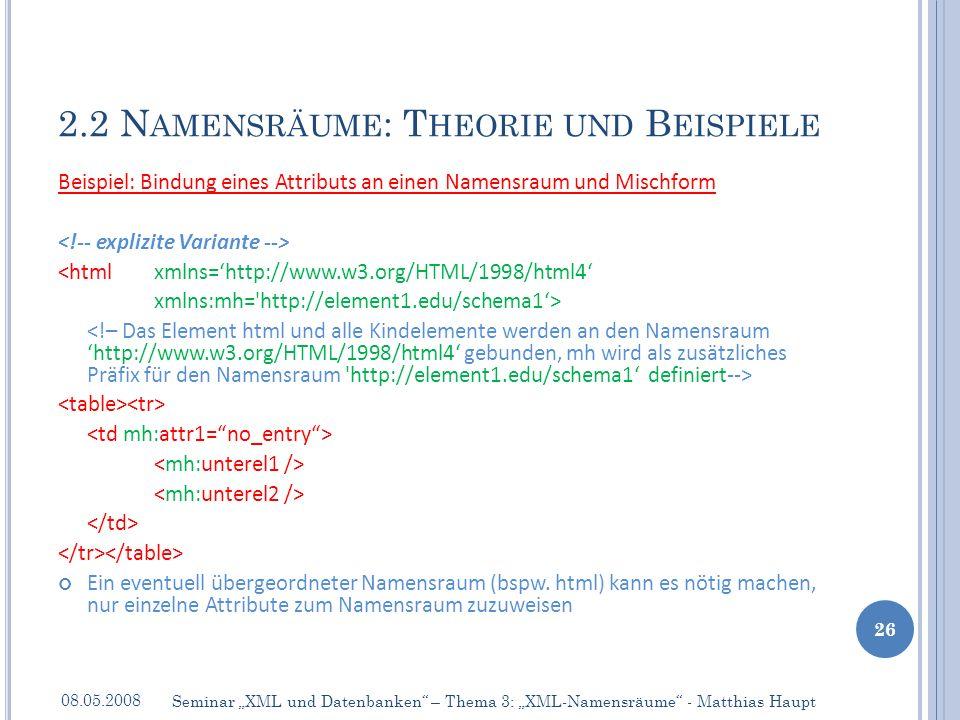 Beispiel: Bindung eines Attributs an einen Namensraum und Mischform <html xmlns=http://www.w3.org/HTML/1998/html4 xmlns:mh='http://element1.edu/schema