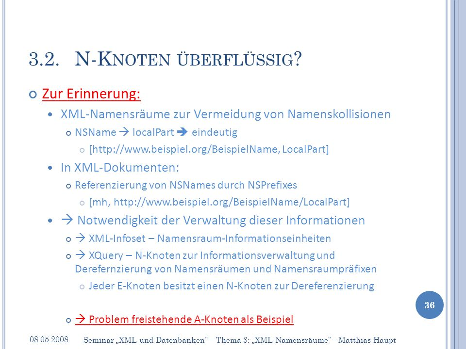 Zur Erinnerung: XML-Namensräume zur Vermeidung von Namenskollisionen NSName localPart eindeutig [http://www.beispiel.org/BeispielName, LocalPart] In X
