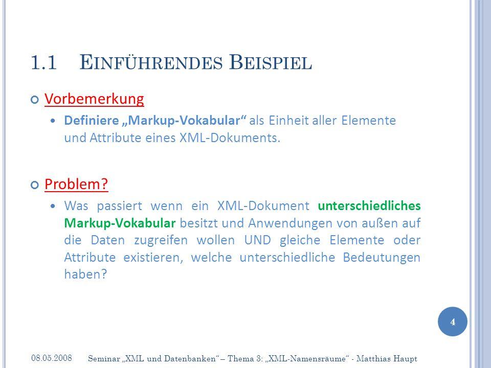 Vorbemerkung Definiere Markup-Vokabular als Einheit aller Elemente und Attribute eines XML-Dokuments.