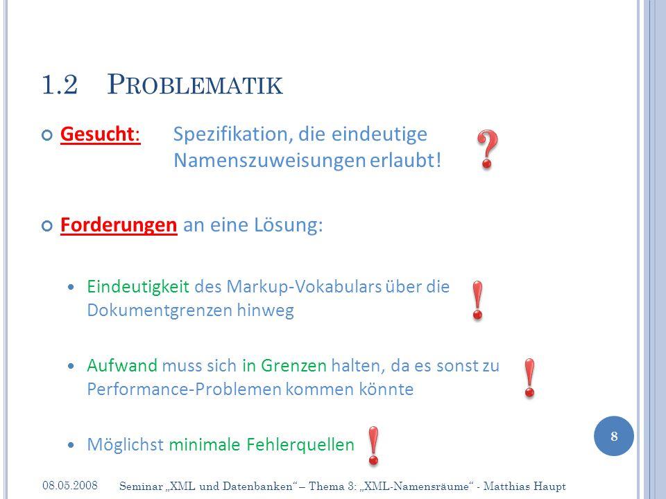 Attributnamen für Namensraum-Deklarationen: [1] NSAttName ::= PrefixedAttName|DefaultAttName // Namensraumattributname – entweder Präfixversion oder voreingestellt [2] PrefixedAttName ::= xmlns: NCName // Nutzung der Präfixvariante – müssen Elementnamen vorangestellt werden bspw.