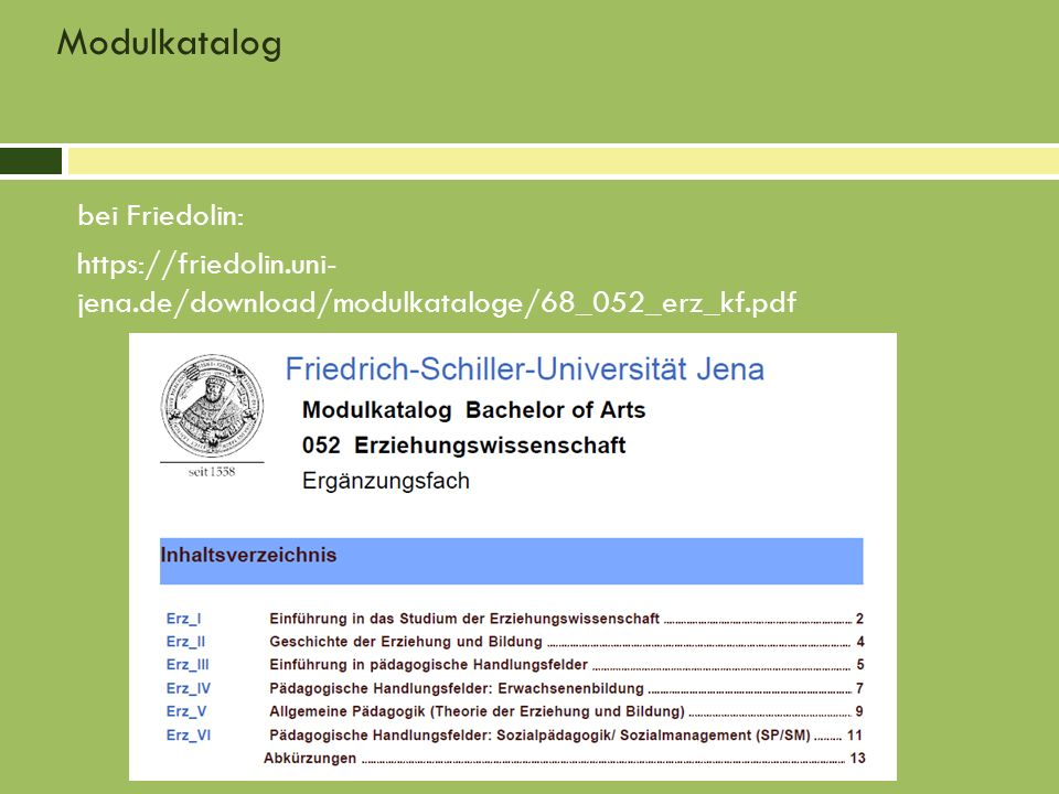 Modulkatalog bei Friedolin: https://friedolin.uni- jena.de/download/modulkataloge/68_052_erz_kf.pdf