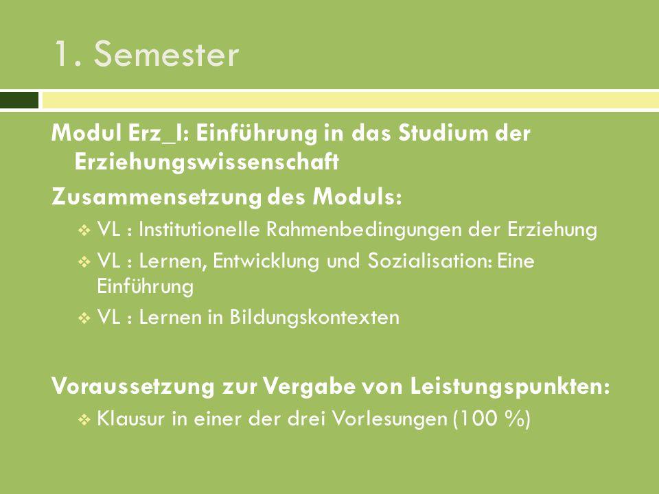 1. Semester Modul Erz_I: Einführung in das Studium der Erziehungswissenschaft Zusammensetzung des Moduls: VL : Institutionelle Rahmenbedingungen der E