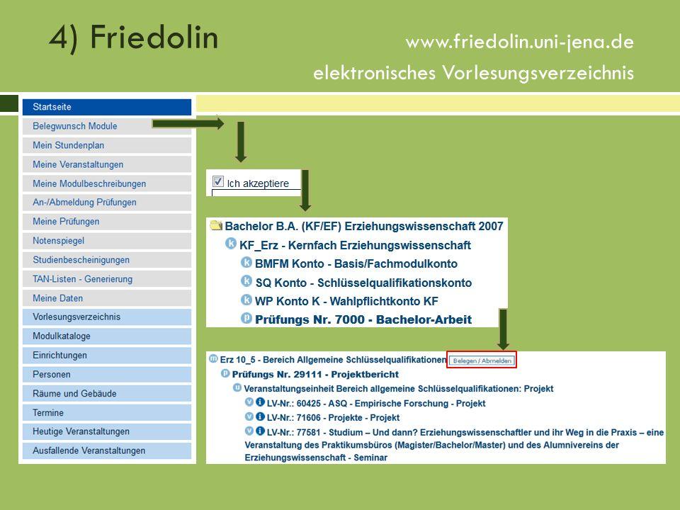 4) Friedolin www.friedolin.uni-jena.de elektronisches Vorlesungsverzeichnis