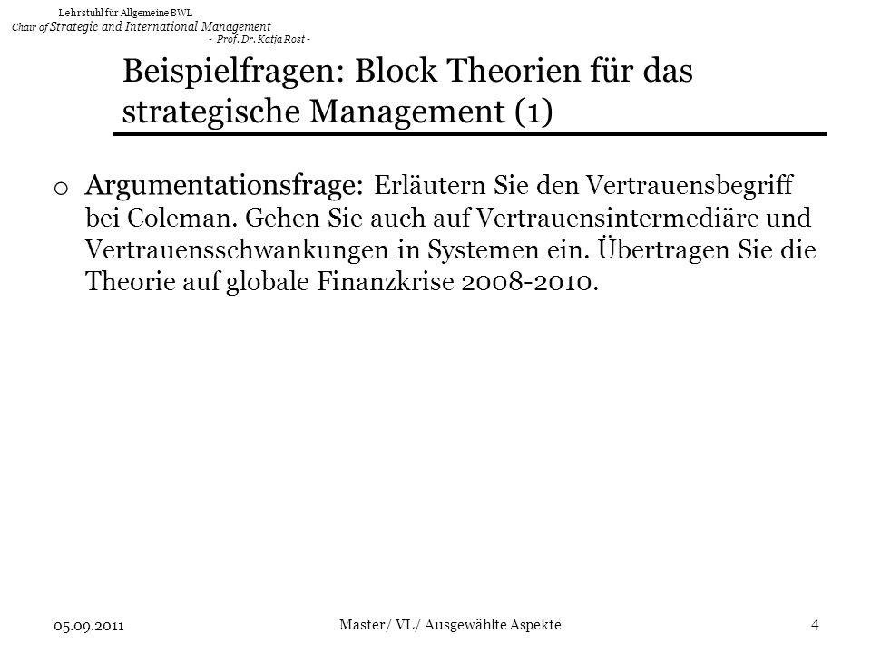 Lehrstuhl für Allgemeine BWL Chair of Strategic and International Management - Prof.