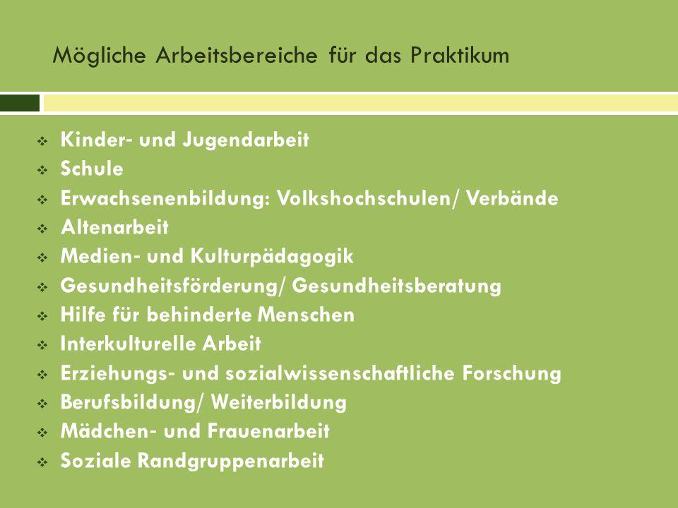 Kinder und Jugendarbeit Schule Erwachsenenbildung: Volkshochschulen/ Verbände Altenarbeit Medien und Kulturpädagogik Gesundheitsförderung/ Gesundheits