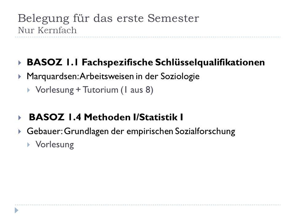 Belegung für das erste Semester Nur Kernfach BASOZ 1.1 Fachspezifische Schlüsselqualifikationen Marquardsen: Arbeitsweisen in der Soziologie Vorlesung