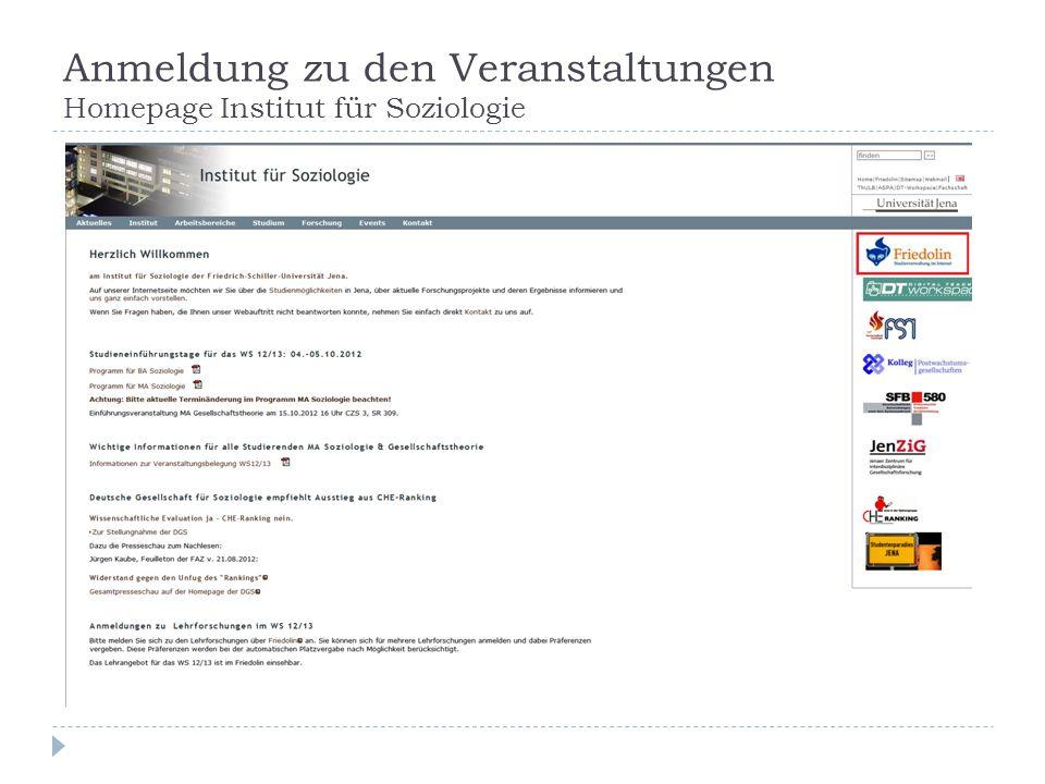 Anmeldung zu den Veranstaltungen Homepage Institut für Soziologie