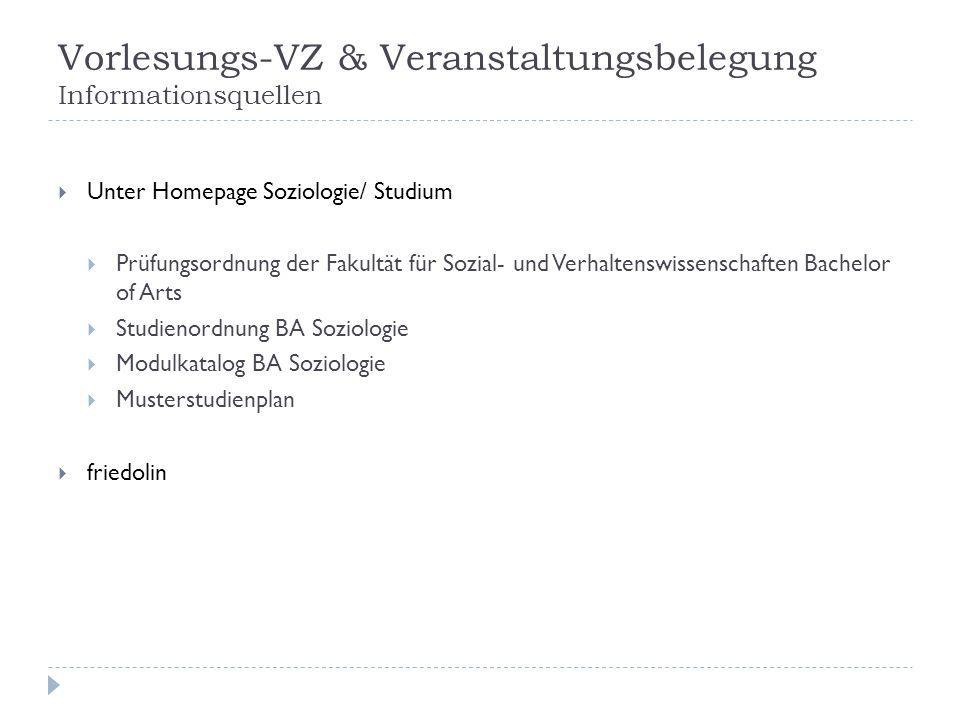 Vorlesungs-VZ & Veranstaltungsbelegung Informationsquellen Unter Homepage Soziologie/ Studium Prüfungsordnung der Fakultät für Sozial- und Verhaltensw