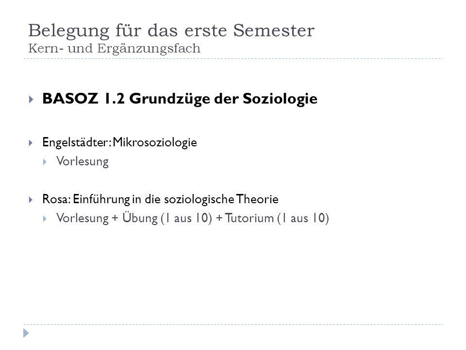 Belegung für das erste Semester Kern- und Ergänzungsfach BASOZ 1.2 Grundzüge der Soziologie Engelstädter: Mikrosoziologie Vorlesung Rosa: Einführung i