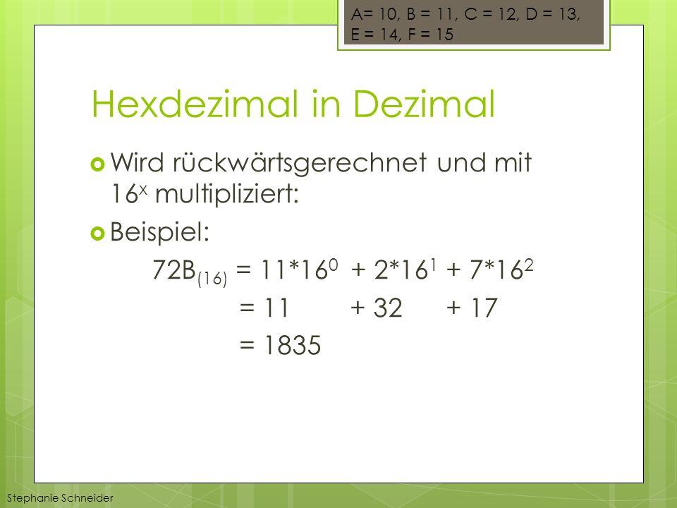 Hexdezimal in Dezimal Wird rückwärtsgerechnet und mit 16 x multipliziert: Beispiel: 72B (16) = 11*16 0 + 2*16 1 + 7*16 2 = 11 + 32 + 17 = 1835 A= 10, B = 11, C = 12, D = 13, E = 14, F = 15 Stephanie Schneider