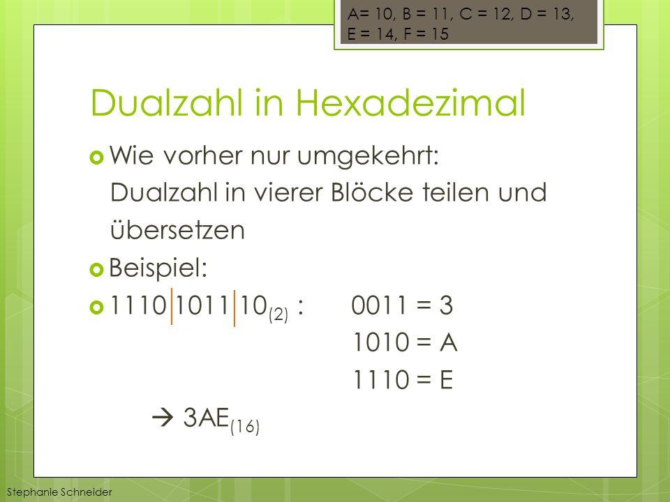 Wie vorher nur umgekehrt: Dualzahl in vierer Blöcke teilen und übersetzen Beispiel: 1110 1011 10 (2) : 0011 = 3 1010 = A 1110 = E 3AE (16) Stephanie Schneider A= 10, B = 11, C = 12, D = 13, E = 14, F = 15 Dualzahl in Hexadezimal