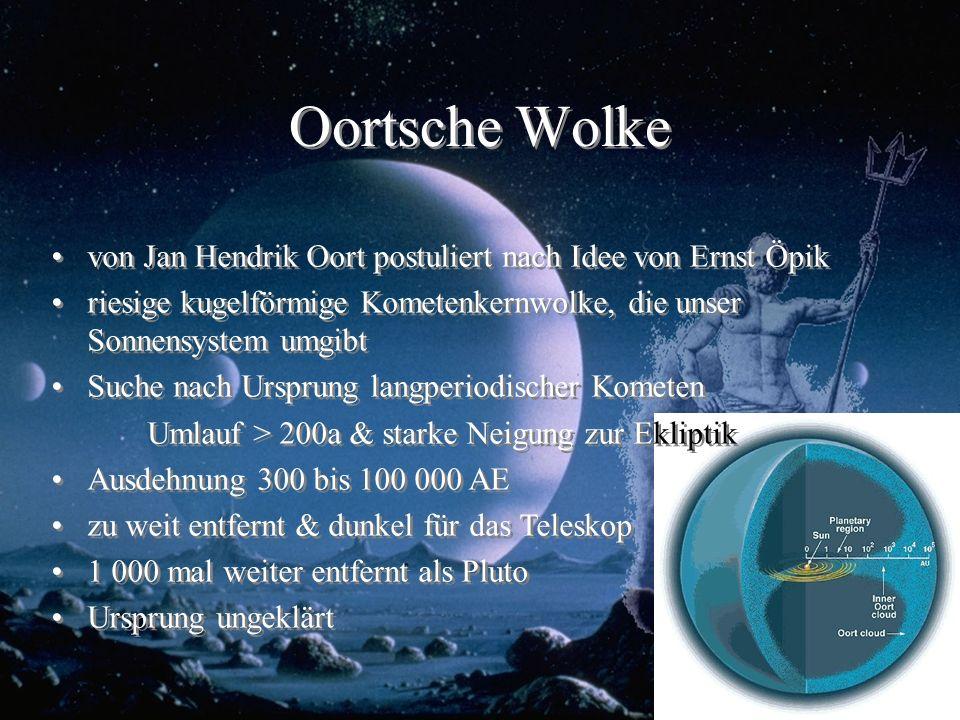 Oortsche Wolke von Jan Hendrik Oort postuliert nach Idee von Ernst Öpik riesige kugelförmige Kometenkernwolke, die unser Sonnensystem umgibt Suche nac