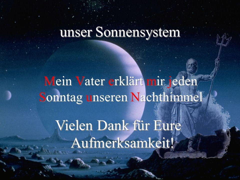 unser Sonnensystem Mein Vater erklärt mir jeden Sonntag unseren Nachthimmel Vielen Dank für Eure Aufmerksamkeit!