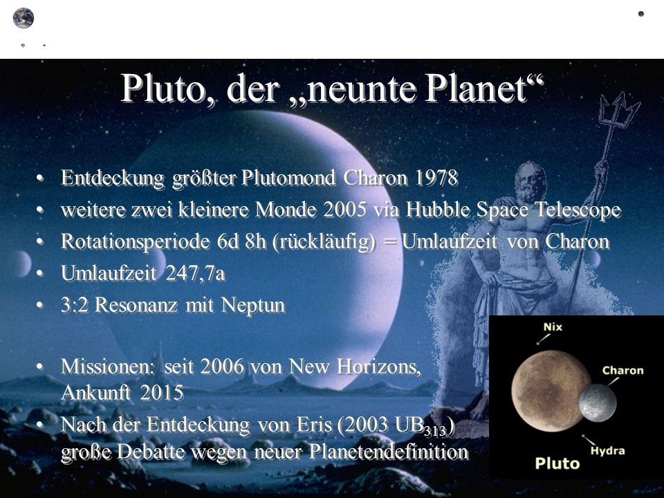 Pluto, der neunte Planet Entdeckung größter Plutomond Charon 1978 weitere zwei kleinere Monde 2005 via Hubble Space Telescope Rotationsperiode 6d 8h (