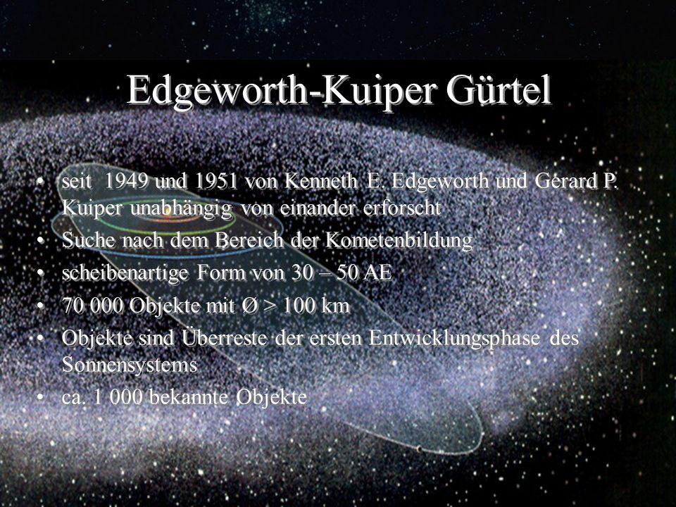 Edgeworth-Kuiper Gürtel seit 1949 und 1951 von Kenneth E. Edgeworth und Gerard P. Kuiper unabhängig von einander erforscht Suche nach dem Bereich der