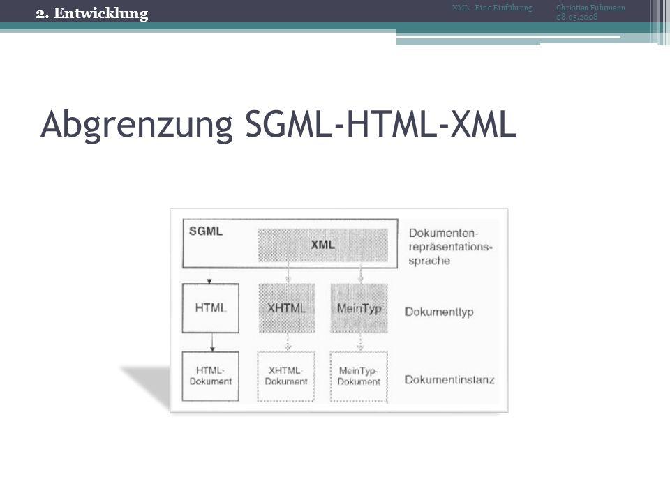 Abgrenzung SGML-HTML-XML 2. Entwicklung Christian Fuhrmann 08.05.2008 XML - Eine Einführung