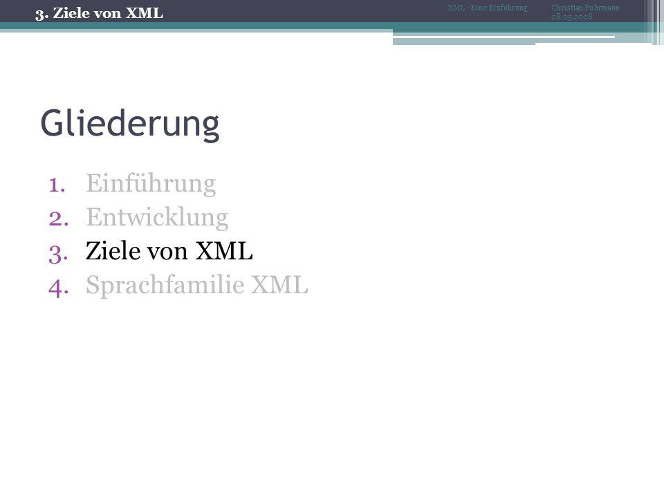 Gliederung 1.Einführung 2.Entwicklung 3.Ziele von XML 4.Sprachfamilie XML 3.