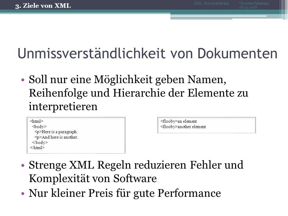 Unmissverständlichkeit von Dokumenten Soll nur eine Möglichkeit geben Namen, Reihenfolge und Hierarchie der Elemente zu interpretieren Strenge XML Regeln reduzieren Fehler und Komplexität von Software Nur kleiner Preis für gute Performance Here is a paragraph.