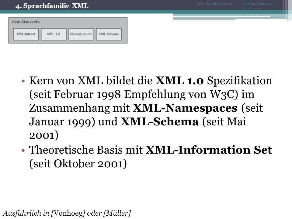 4. Sprachfamilie XML Christian Fuhrmann 08.05.2008 XML - Eine Einführung Kern von XML bildet die XML 1.0 Spezifikation (seit Februar 1998 Empfehlung v