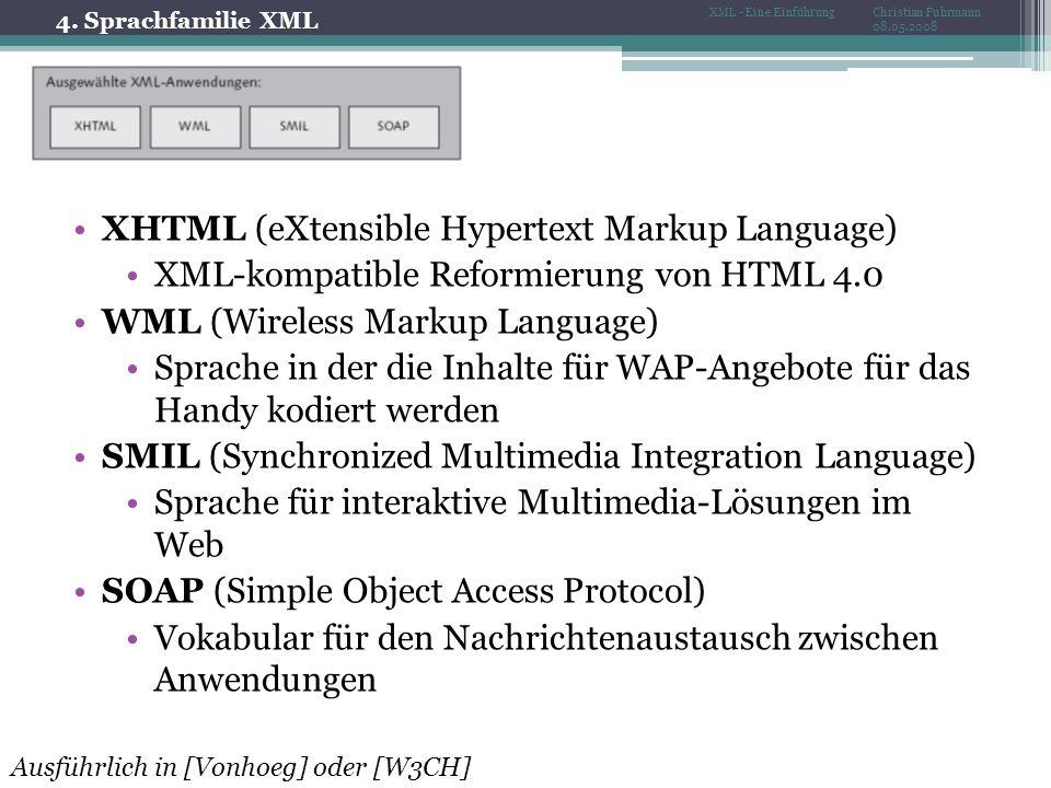 4. Sprachfamilie XML Christian Fuhrmann 08.05.2008 XML - Eine Einführung XHTML (eXtensible Hypertext Markup Language) XML-kompatible Reformierung von