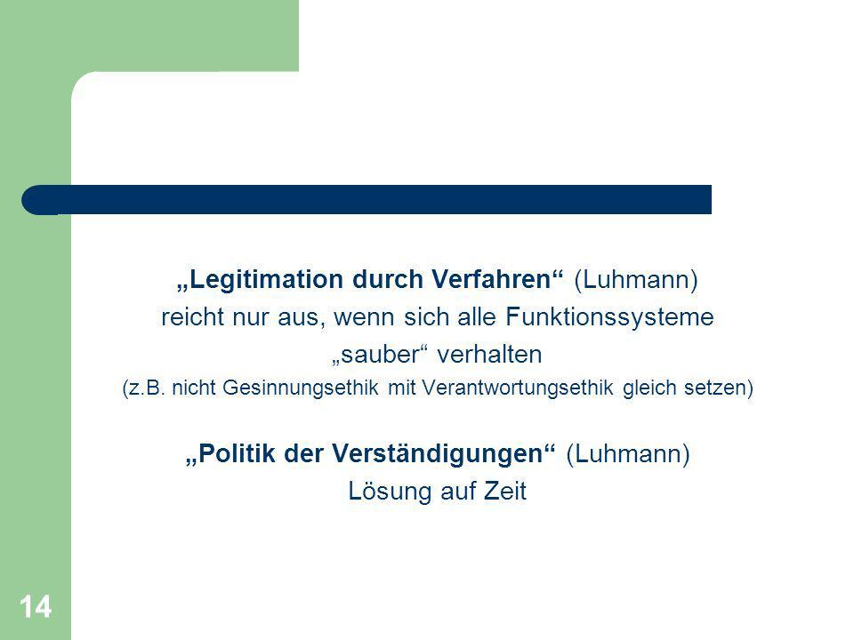 14 Legitimation durch Verfahren (Luhmann) reicht nur aus, wenn sich alle Funktionssysteme sauber verhalten (z.B. nicht Gesinnungsethik mit Verantwortu