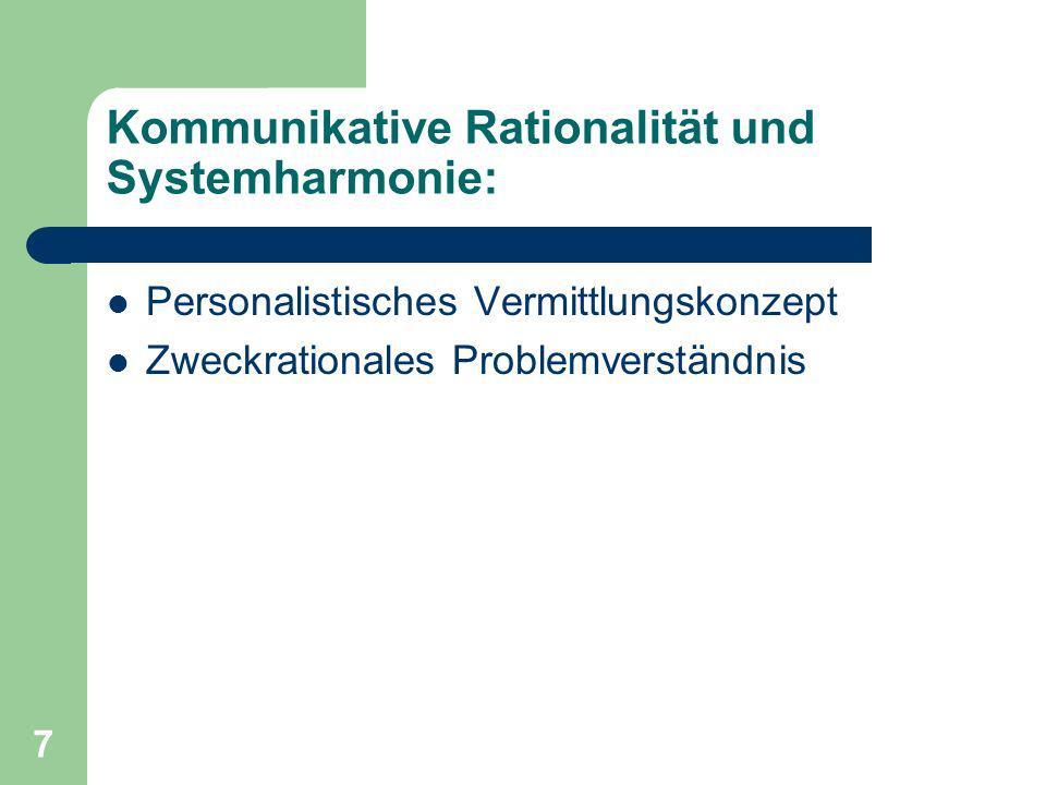 7 Kommunikative Rationalität und Systemharmonie: Personalistisches Vermittlungskonzept Zweckrationales Problemverständnis