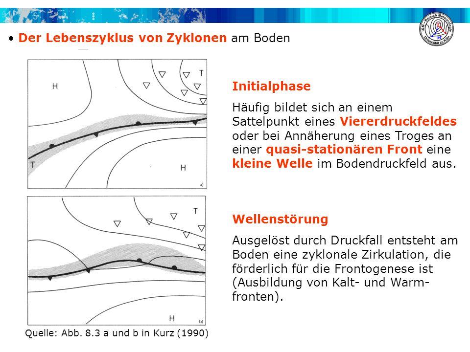 Der Lebenszyklus von Zyklonen am Boden Initialphase Häufig bildet sich an einem Sattelpunkt eines Viererdruckfeldes oder bei Annäherung eines Troges a