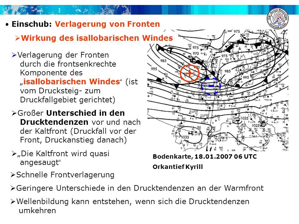 Einschub: Verlagerung von Fronten - + Verlagerung der Fronten durch die frontsenkrechte Komponente desisallobarischen Windes (ist vom Drucksteig- zum