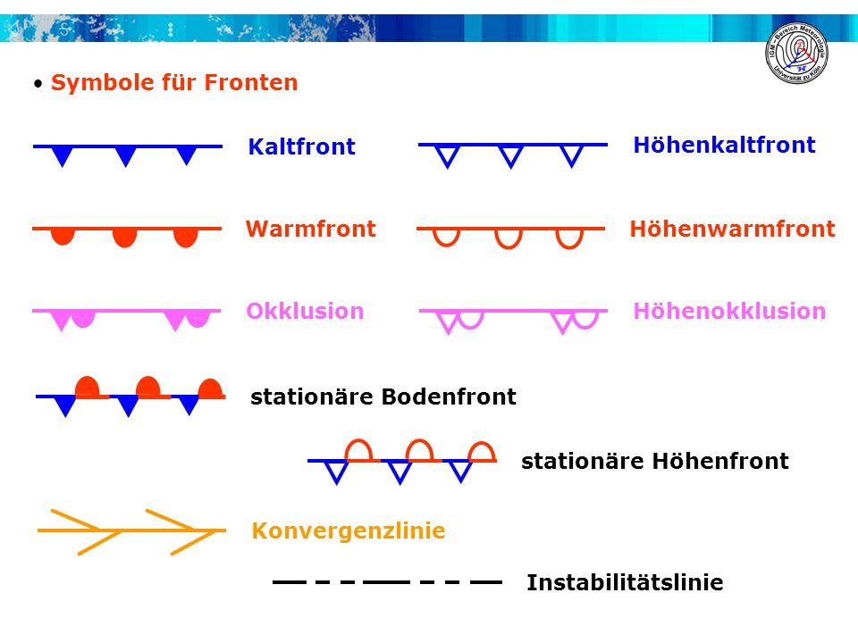 Symbole für Fronten WarmfrontHöhenwarmfront OkklusionHöhenokklusion Kaltfront Höhenkaltfront stationäre Bodenfront stationäre Höhenfront Konvergenzlin