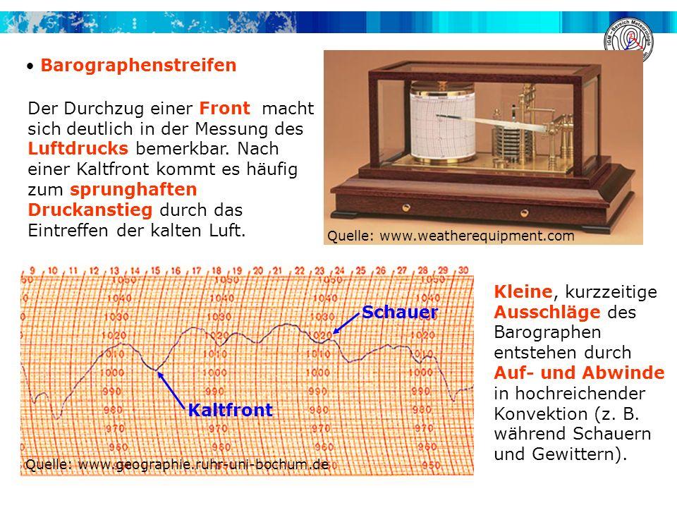 Barographenstreifen Quelle: www.geographie.ruhr-uni-bochum.de Quelle: www.weatherequipment.com Kaltfront Schauer Der Durchzug einer Front macht sich d