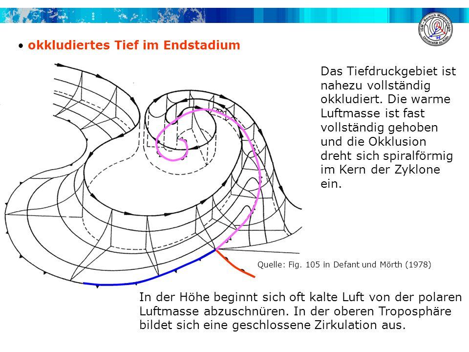 okkludiertes Tief im Endstadium Das Tiefdruckgebiet ist nahezu vollständig okkludiert. Die warme Luftmasse ist fast vollständig gehoben und die Okklus