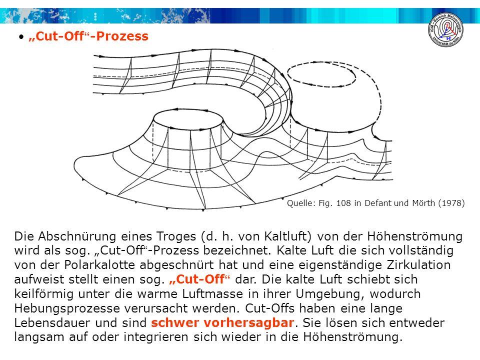 Cut-Off -Prozess Die Abschnürung eines Troges (d. h. von Kaltluft) von der Höhenströmung wird als sog. Cut-Off -Prozess bezeichnet. Kalte Luft die sic