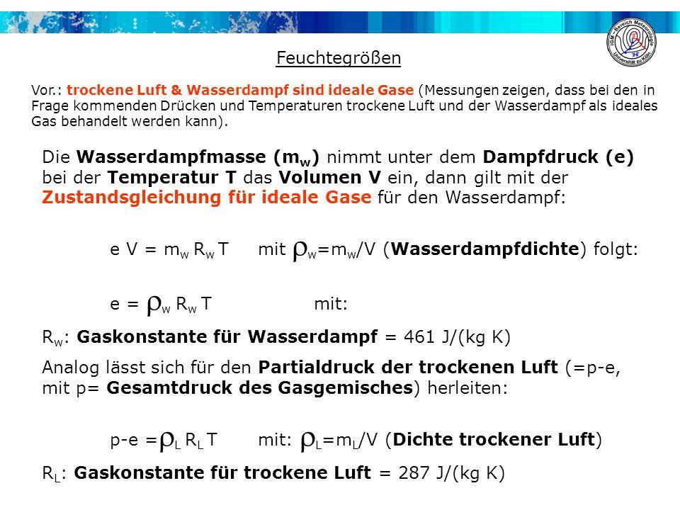 Feuchtegrößen Die Wasserdampfmasse (m w ) nimmt unter dem Dampfdruck (e) bei der Temperatur T das Volumen V ein, dann gilt mit der Zustandsgleichung f