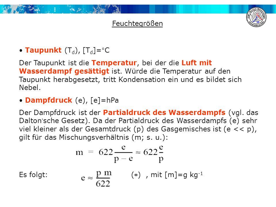 Feuchtegrößen Taupunkt (T d ), [T d ]=°C Der Taupunkt ist die Temperatur, bei der die Luft mit Wasserdampf gesättigt ist. Würde die Temperatur auf den
