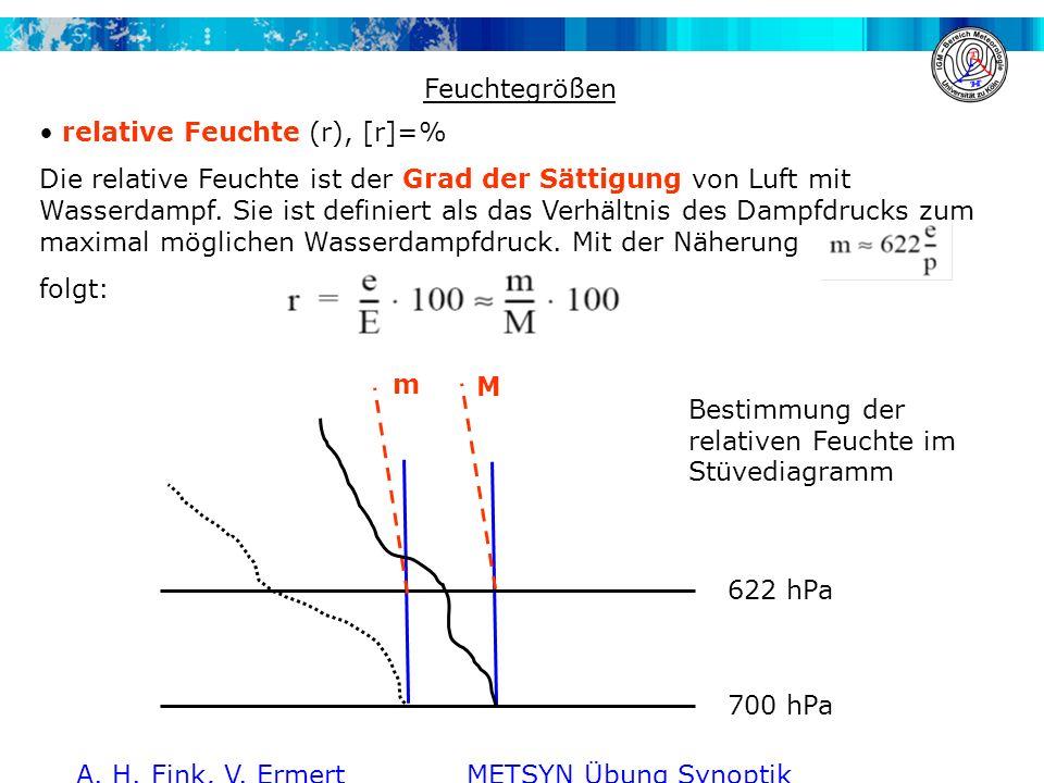 A. H. Fink, V. Ermert METSYN Übung Synoptik WS 2011/2012 Feuchtegrößen relative Feuchte (r), [r]=% Die relative Feuchte ist der Grad der Sättigung von