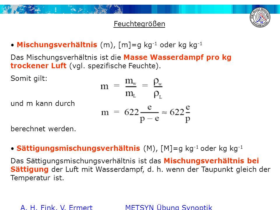 A. H. Fink, V. Ermert METSYN Übung Synoptik WS 2011/2012 Feuchtegrößen Mischungsverhältnis (m), [m]=g kg -1 oder kg kg -1 Das Mischungsverhältnis ist
