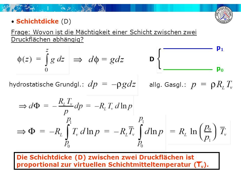 Schichtdicke (D) Frage: Wovon ist die Mächtigkeit einer Schicht zwischen zwei Druckflächen abhängig? Die Schichtdicke (D) zwischen zwei Druckflächen i