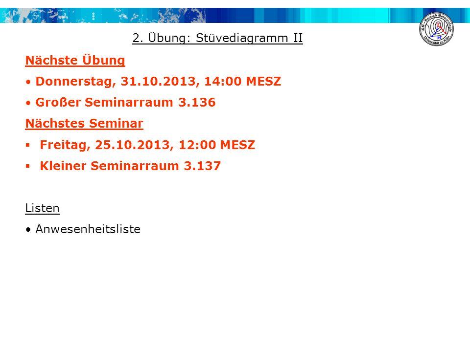 Nächste Übung Donnerstag, 31.10.2013, 14:00 MESZ Großer Seminarraum 3.136 Nächstes Seminar Freitag, 25.10.2013, 12:00 MESZ Kleiner Seminarraum 3.137 L